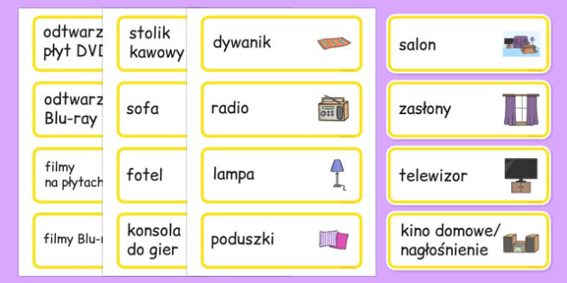 Karty ze słownictwem Salon po polsku - pokój dzienny, dom