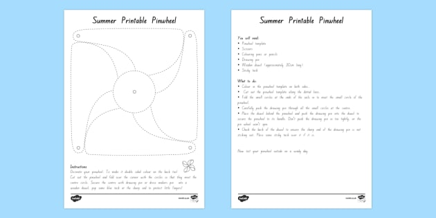 Summer Printable Pinwheel Template - nz, new zealand, summer, seasons, weather, wind