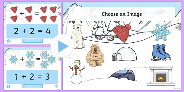 Winter Themed Addition PowerPoint - winter, addition, adding, plus, powerpoint, addition powerpoint, maths, numeracy, numeracy powerpoint, themed addition