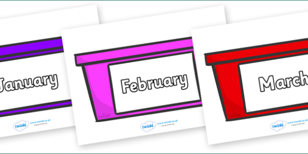 Months of the Year on Trays - Months of the Year, Months poster, Months display, display, poster, frieze, Months, month, January, February, March, April, May, June, July, August, September