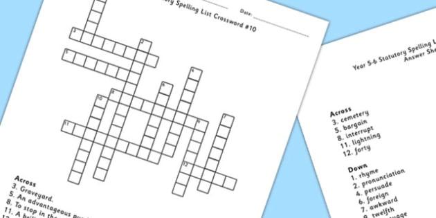 Year 5-6 Statutory Spelling List Crossword 10 - crossword, spell