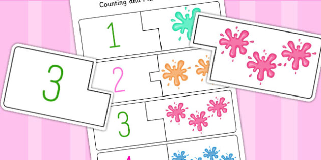 Splat Themed Counting Matching Puzzle - count, match, games