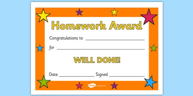 printable homework certificates free