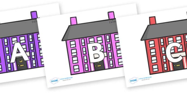 A-Z Alphabet on Houses - A-Z, A4, display, Alphabet frieze, Display letters, Letter posters, A-Z letters, Alphabet flashcards