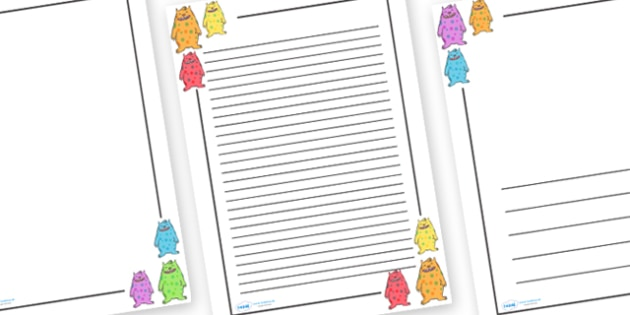 Monster Page Borders - monster, monsters, Page border, border, writing Borders, scary