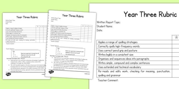 Written Report Rubric Year Three - australia, written, report, rubric, written, report, rubric, three