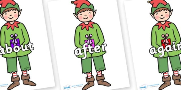 KS1 Keywords on Elf (Plain) - KS1, CLL, Communication language and literacy, Display, Key words, high frequency words, foundation stage literacy, DfES Letters and Sounds, Letters and Sounds, spelling