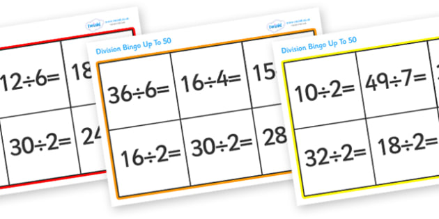 Division Bingo (Up To 50) - division, bingo, division bingo, dividing, divide, numbers, game, activity, up to 50, 50, practice, fun, Maths, numeracy, KS2