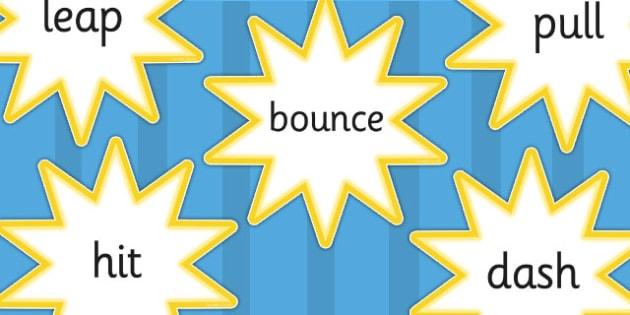 Verb Cut Out Yellow Stars - verbs, grammar, literacy, display