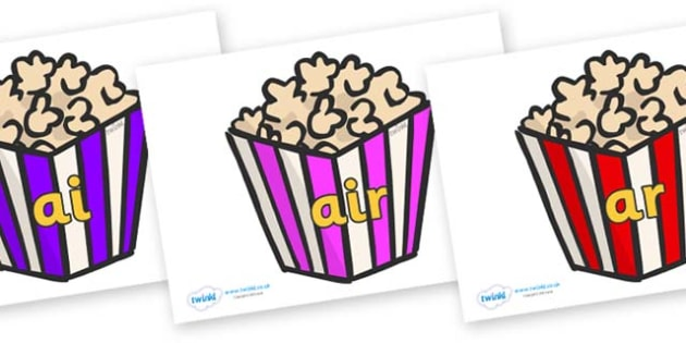 Phase 3 Phonemes on Popcorn - Phonemes, phoneme, Phase 3, Phase three, Foundation, Literacy, Letters and Sounds, DfES, display