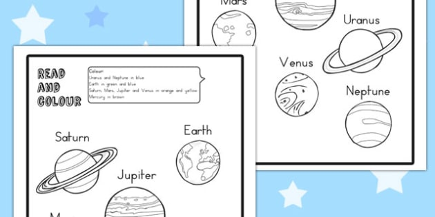 Planet Read and Colour Worksheet - australia, planet, colour