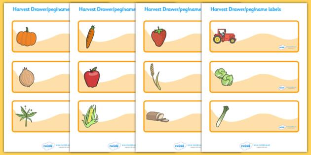 Editable Drawer - Peg - Name Labels (Harvest) - Label Templates, Resource Labels, Name Labels, Editable Labels, Drawer Labels, Coat Peg Labels, Peg Label, KS1 Labels, Foundation Labels, Foundation Stage Labels, Teaching Labels
