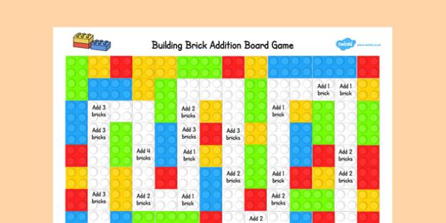 Building Brick Addition Board Game - building brick, addition, board game