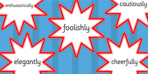 Adverb Cut Out Red Stars - adverbs, verbs, cutout, display