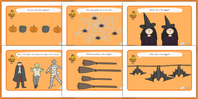 Halloween Activity Worksheets - halloween, halloween activity, halloween worksheets, size and shape, size comparison, bigger or smaller, length comparison