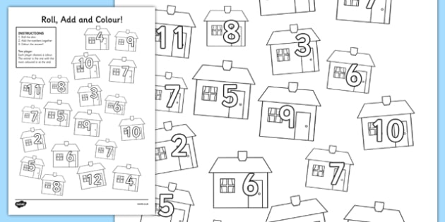Houses and Homes Roll and Colour Worksheet - house, home, colour