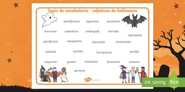 Adjetivos miedosos de Halloween Tapiz de vocabulario