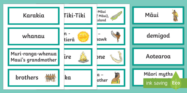 Māui Myth Word Cards - Maui Myths Maori legends