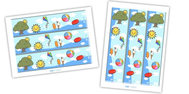 Summer Display Borders - Display border, classroom border, border, summer, seasons,  A4, display, beach, sun, flowers, ice cream, sea, seaside