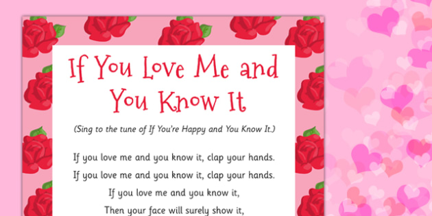 if you love me and you know it song valentines day love