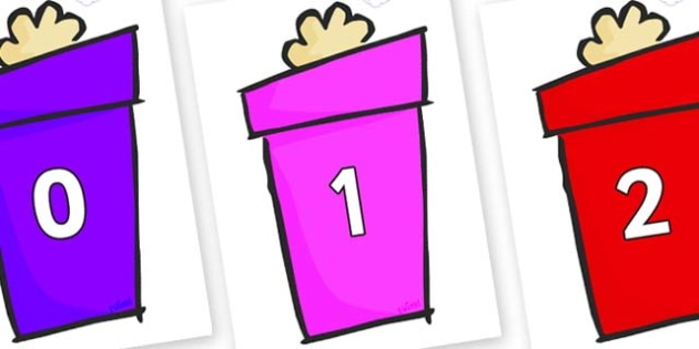 Numbers 0-31 on Christmas Gift - 0-31, foundation stage numeracy, Number recognition, Number flashcards, counting, number frieze, Display numbers, number posters