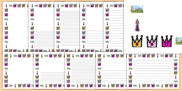 Turrets and Tiaras Page Borders - turrets, tiaras, page borders, page, borders