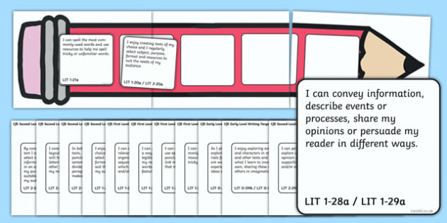 Scottish CfE Early First and Second Level Large Writing Target Cards Pencils - cfe, curriculum for excellence,