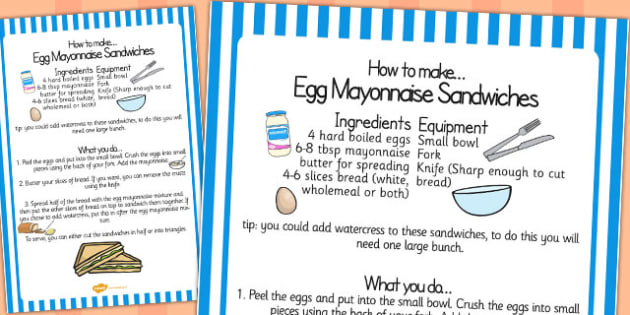 Egg Mayonnaise Sandwich Recipe Sheet - egg, mayonnaise, recipe