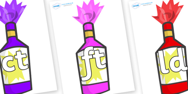 Final Letter Blends on Party Poppers - Final Letters, final letter, letter blend, letter blends, consonant, consonants, digraph, trigraph, literacy, alphabet, letters, foundation stage literacy