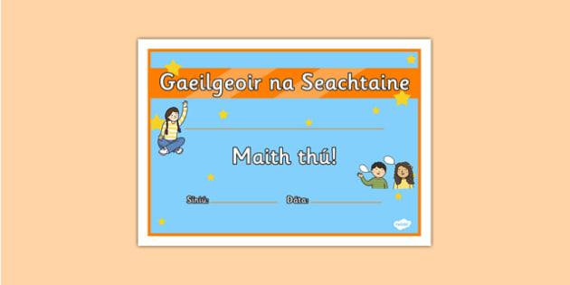 Gaeilgeoir na Seachtaine Junior and Senior Infants Certificate - roi, irish, gaeilge, certificate, language, Gaeilgeoir, Junior and Senior Infants