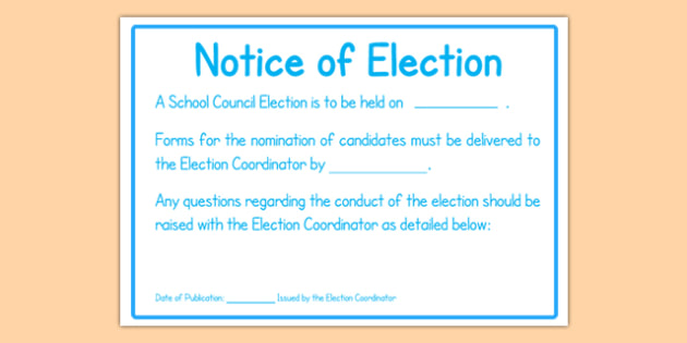 School Council Election Notice of Election Poster - school council, election, notice, poster