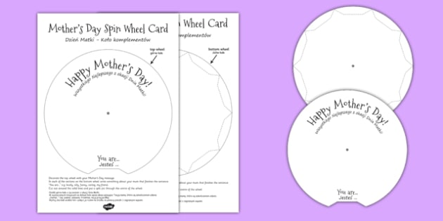 Mother's Day Spin Wheel Card Polish Translation - polish, mothering Sunday, mother, mum