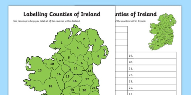 Labelling Counties of Ireland Activity - label, labelling, counties, ireland, activity