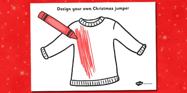 Christmas Jumper Design Activity Sheet - christmas, activity, worksheet