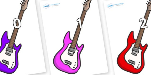Numbers 0-31 on Guitars - 0-31, foundation stage numeracy, Number recognition, Number flashcards, counting, number frieze, Display numbers, number posters
