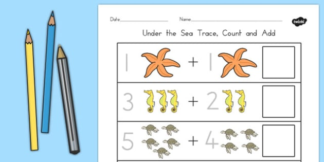 Under the Sea Trace Count and Add Worksheet - australia, sea