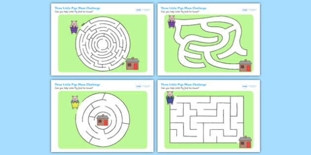 The Three Little Pigs Differentiated Maze Activity Sheet Pack, worksheet