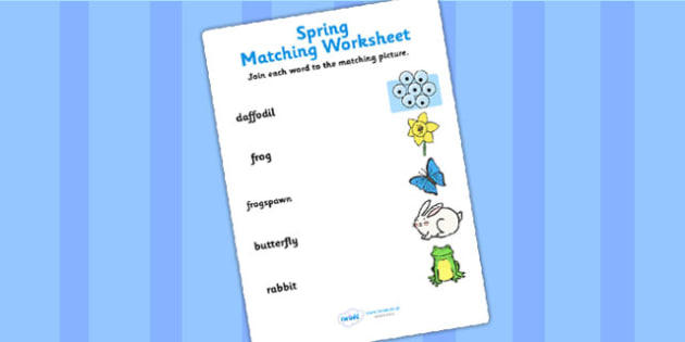 Spring Word and Picture Matching Worksheet - spring, matching