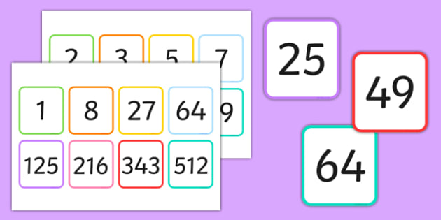 Squared Cubed and Prime Number Flash Cards Pack - square, cube, multiplication, same number, game, activity, visual aid, ks2, numbers, maths, numeracy