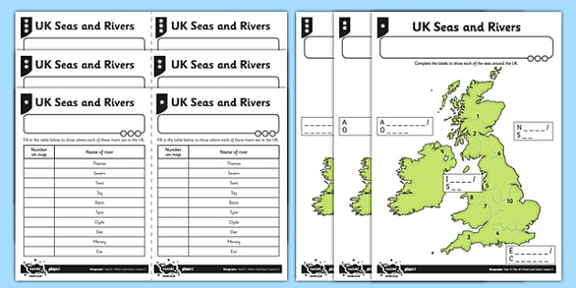 UK Seas and Rivers - geography, UK, county, counties, seas, rivers