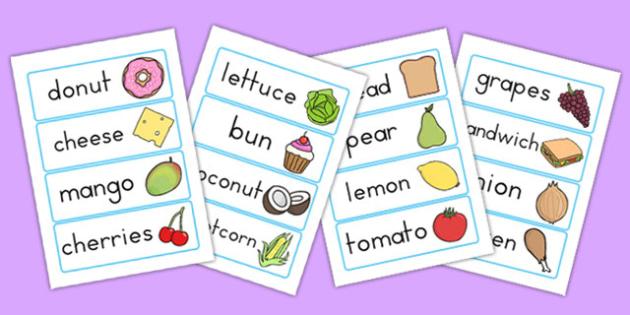 Food Topic Word Cards - keywords, keyword cards, visual aid