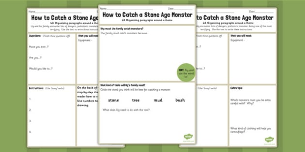How to Catch a Stone Age Monster Instruction Worksheet to Support Teaching on Ug - ug
