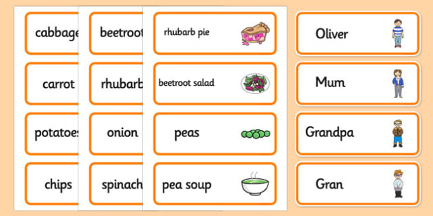 Oliver's Vegetables Word Cards - Oliver's vegetables, word cards