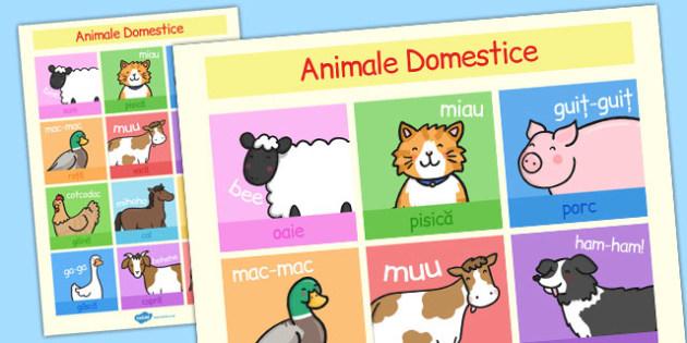 Animalele domestice - Planșă cu imagini si cuvinte - fermă, la fermă, animale, domestice, planșă, imagini, cuvinte, materiale, materiale didactice, română, romana, material, material didactic