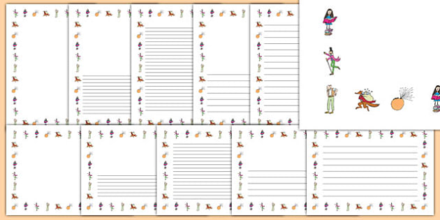 Roald Dahl Page Borders - Roald Dahl, page borders, roald dahl page borders, roald dahl writing frames, writing frames, roald dahl borders