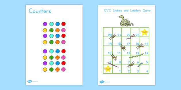 Snakes and Ladders CVC 1-20 - australia, snakes, ladders, cvc
