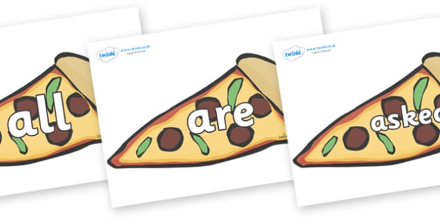 Tricky Words on Pizza Slices - Tricky words, DfES Letters and Sounds, Letters and sounds, display, words