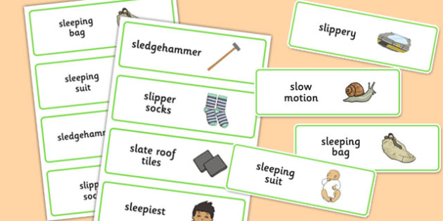 Three Syllable SL Word Cards - sen, sound, special educational needs, sl, word cards
