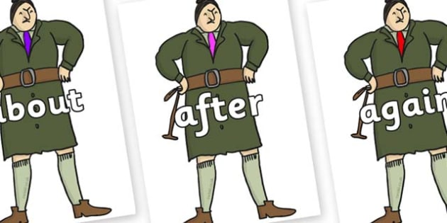 KS1 Keywords on Mrs Trunchbull to Support Teaching on Matilda - KS1, CLL, Communication language and literacy, Display, Key words, high frequency words, foundation stage literacy, DfES Letters and Sounds, Letters and Sounds, spelling
