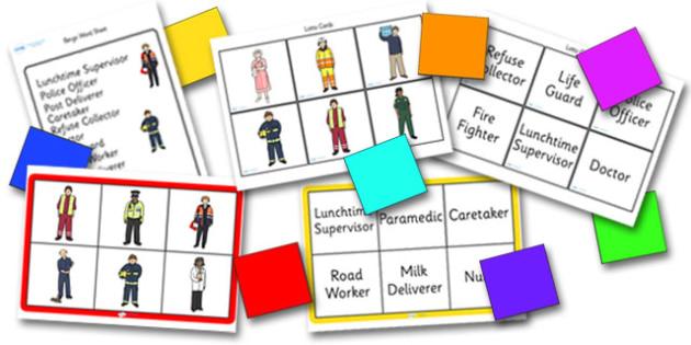 People Who Help Us Bingo - Bingo, activity, game, People who help us, Role play, Role Play masks, Doctor, Nurse, Teacher, Police, Fire fighter, Paramedic, Builder, Caretaker, Lollipop, Traffic Warden, Lunchtime supervisor, lunch time assistant
